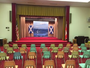The recital and competition stage at the Great Falls Scottish Rite.
